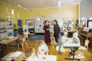 Students in class at German International School Boston