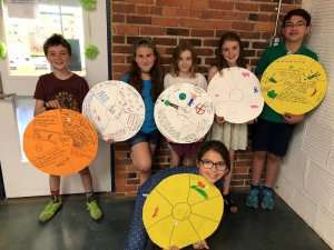 Students holding class projects at German International School Boston