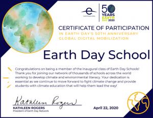 Earth Day Certificate 2020 Awarded to German International School Boston
