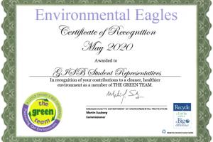 Environmental Eagles Certificate 2020 Awarded to German International School Boston