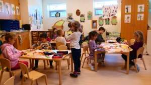 Children participating in arts and crafts at German International School Boston