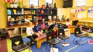 Students in the Music Room at German International School Boston