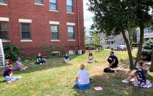 Students in class outside at German International School Boston