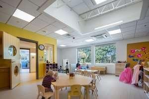 Preschoolers sitting at a table at German International School Boston