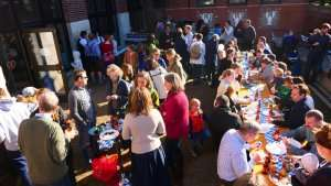 Family lunch event in the courtyard of German International School Boston